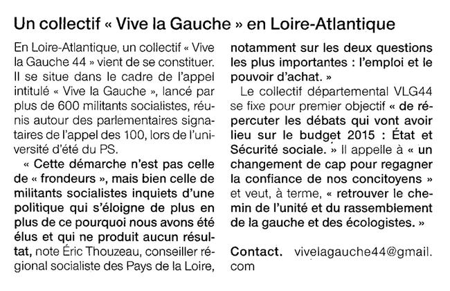 Ouest-France 9 octobre 2014